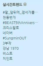 October 16th Twitter trends in Korea