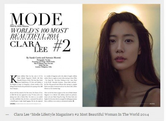 "Clara #2 on ""Mode's World 100 Most Beautiful Women 2014"""