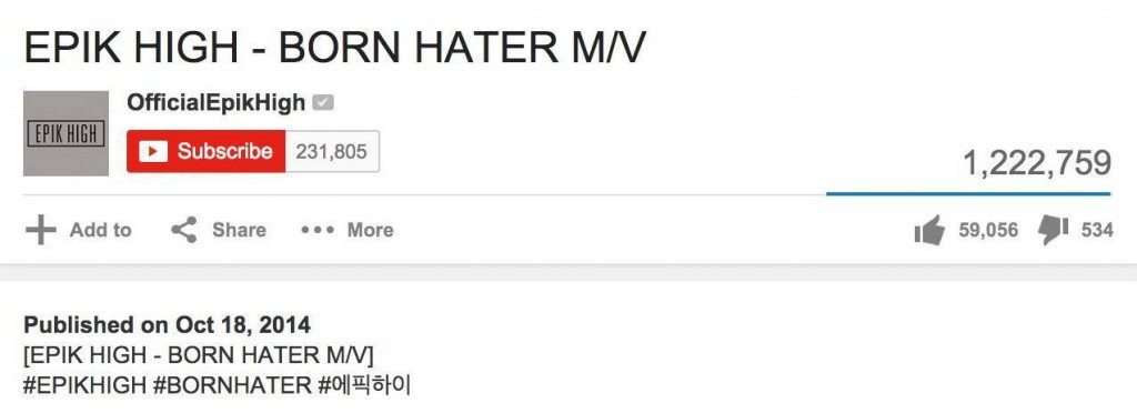 "Epik High ""Born Hater"" 1mil views"