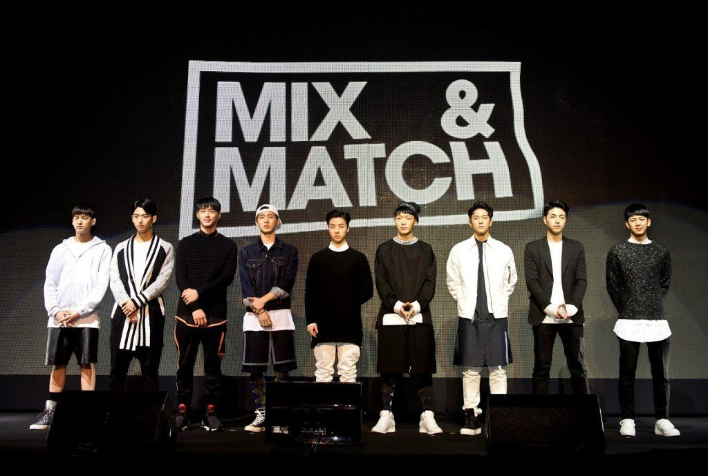 9 contestants at press conference for MIX & MATCH