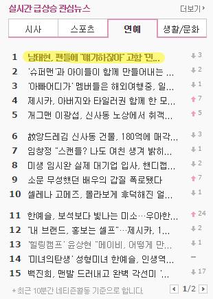 Nam Tae Hyun trending on Nate News on 11/24/2014