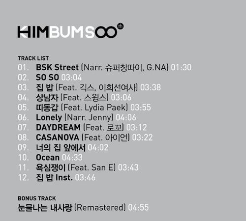 Kim Bum Soo Him track list