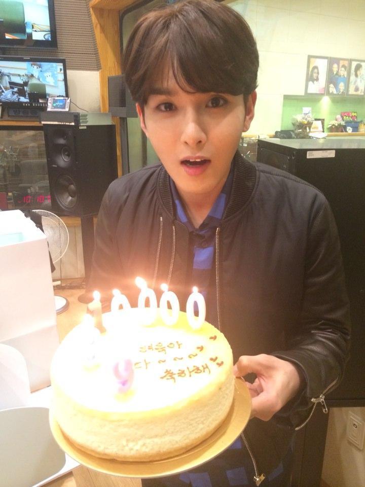 Super Junior singer Ryeowook with his 10000 days birthday cake