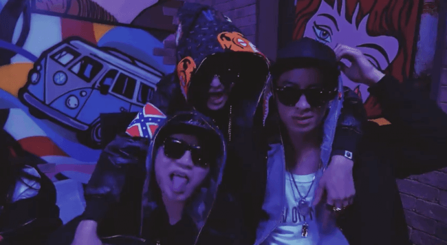 """Confederate Flag on Zico's jacket in debut MV, """"Tough Cookie"""" (3:20 seconds in)"""