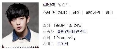 Kim Min Suk profile on Naver