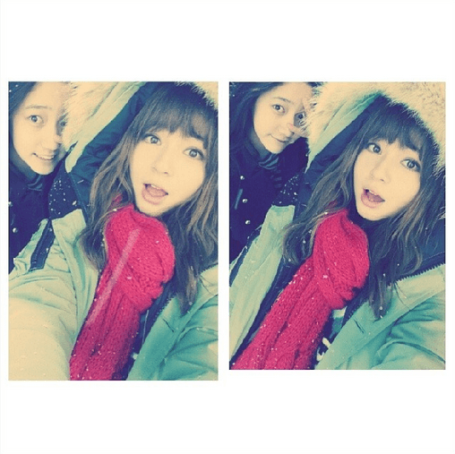 A cute wintry selca of Shannon and Dani