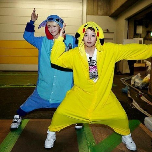SHINee's Onew as Stitch and f(x)'s Amber as Pikachu