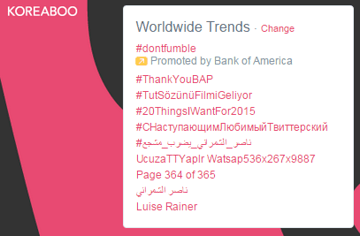 #ThankYouBAP trends Worldwide at #1