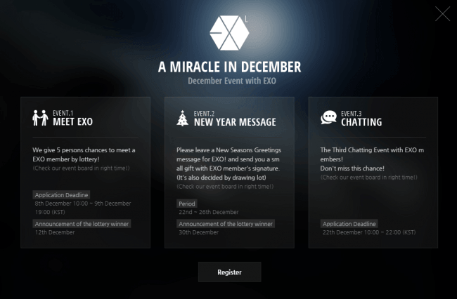 "EXO ""A Miracle in December"" Fan Events"