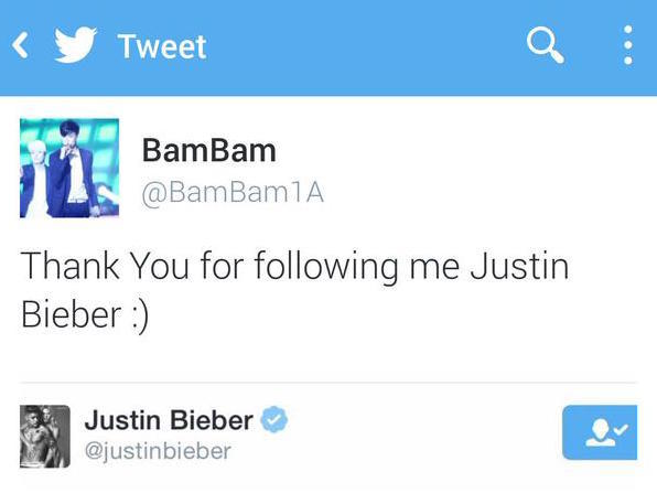Bambam's deleted tweet, thanking JB for Twitter follow