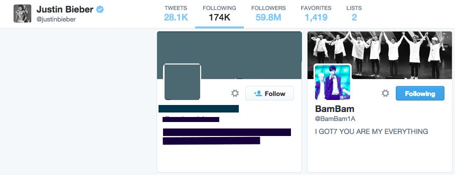 Bieber is currently still following Bambam