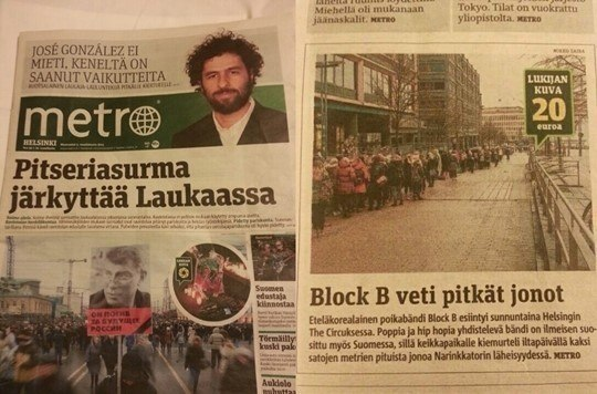 "Photo: Block B featured in Finland's ""Metro"""