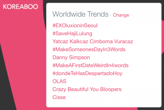 EXO trended #1 on Twitter worldwide during and after their concert
