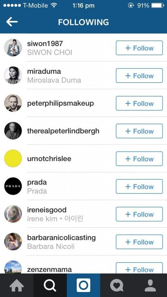 Liu Wen following Siwon on Instagram