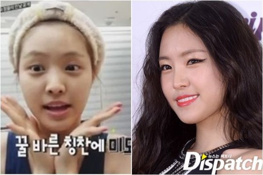 Apink's Son Na Eun: before and after make-up comparison.
