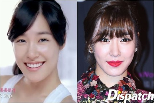 Girls' Generation's Tiffany: before and after make-up comparison.