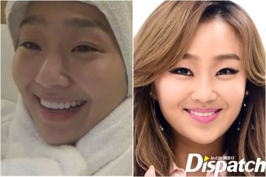 SISTAR's Hyorin: before and after make-up comparison.