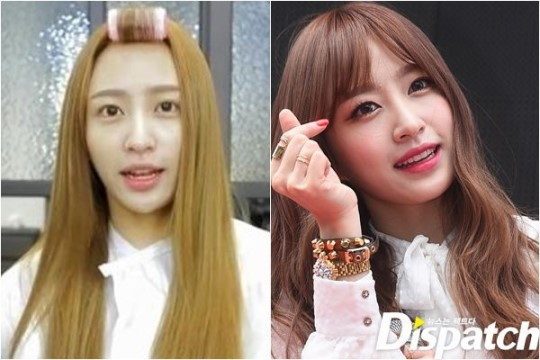 EXID's Hani: before and after make-up comparison.