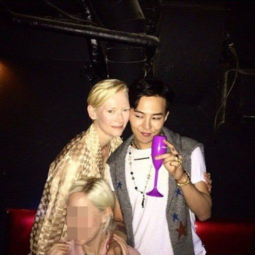 Tilda Swinton and G-Dragon at after-party
