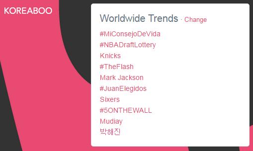 Twitter's Worldwide Trending list with Park Hae Jin (very bottom).