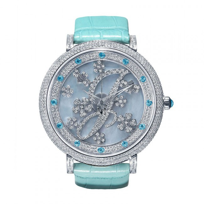 Limited Edition Style J - Stainless Steel, Diamond Ladies' Watch: 4.53carats Sky Blue Genuine Alligator Strap