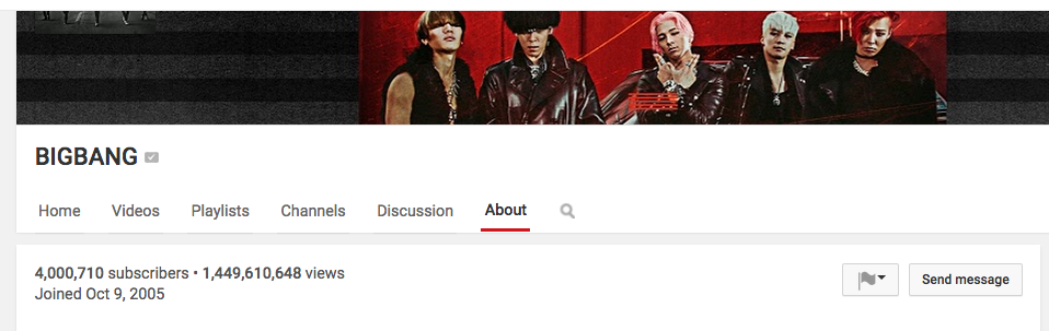 BIGBANG 4 million subscribers on Youtube