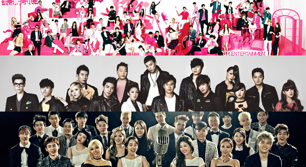 SM Entertainment, YG Entertainment, JYP Entertainment