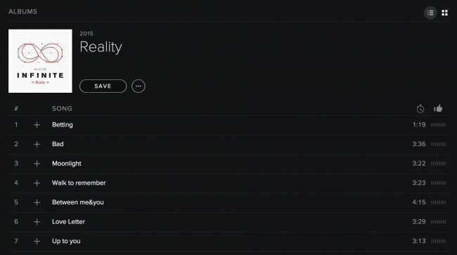 "INFINITE's ""Reality"" on Spotify"