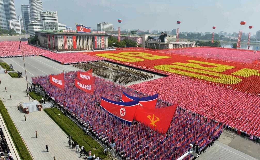 A general view shows a parade marking the 1948 establishment of North Korea, in Pyongyang in this photo taken by Kyodo September 9, 2013.    Mandatory Credit. REUTERS/Kyodo (NORTH KOREA - Tags: POLITICS MILITARY ANNIVERSARY)  ATTENTION EDITORS - THIS IMAGE WAS PROVIDED BY A THIRD PARTY. FOR EDITORIAL USE ONLY. NOT FOR SALE FOR MARKETING OR ADVERTISING CAMPAIGNS. THIS PICTURE IS DISTRIBUTED EXACTLY AS RECEIVED BY REUTERS, AS A SERVICE TO CLIENTS. MANDATORY CREDIT. JAPAN OUT. NO COMMERCIAL OR EDITORIAL SALES IN JAPAN - RTX13DTA