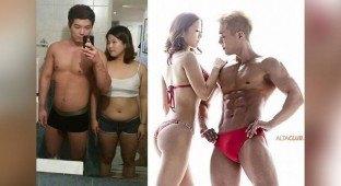 Couple Song Jin Yoo and Shin Ji Hoo before and after photos