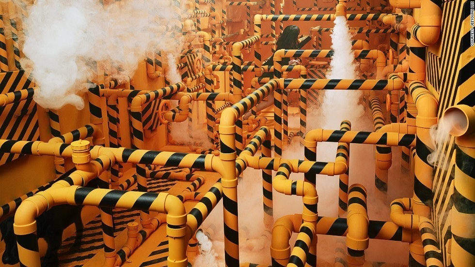 """My Chemical Romance"" Lee attempted to show her problems with communicating with some people with the pipes along with foggy white vapor. She uses yellow and black as it usually symbolizes the warning of danger."