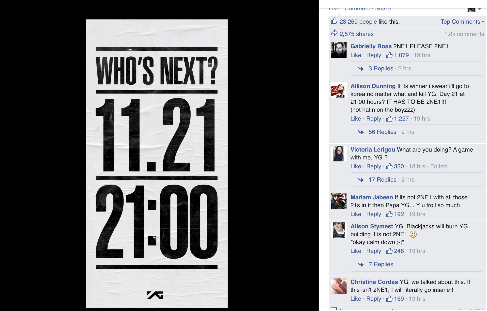 Image: YG Entertainment's Facebook
