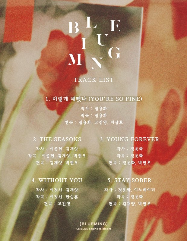 Image: CNBLUE tracklist for BLUEMING / FNC Entertainment