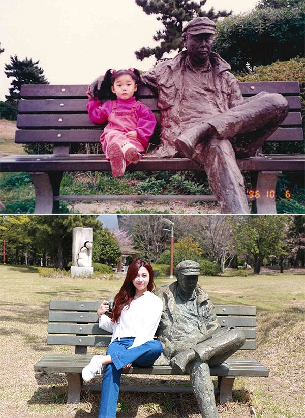 Image: Eunji in 1996 and 2016 / Apink's Facebook, Plan A Entertainment