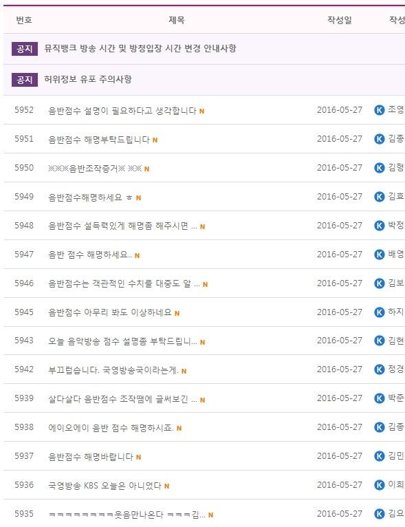 Image: Netizens flooding KBS 'Music Bank' message boards demanding an explanation