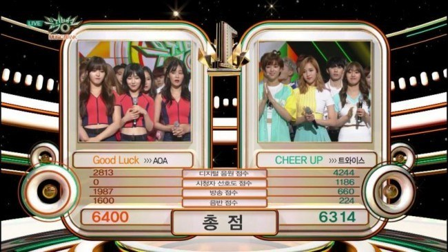 Image: AOA vs TWICE on Music Bank 05.27.2016 / KBS