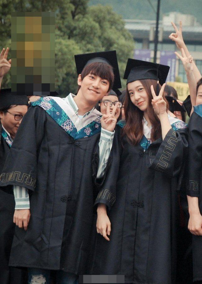 "Image: Krystal posing at a graduation scene during the filming of Chinese drama ""Graduation Season"""