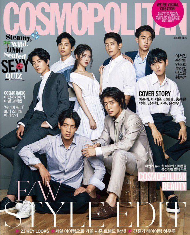 "Image: The cast of the SBS ""Moon Lovers: Scarlet Heart Ryeo"" appearing on the August 2016 issue of ""COSMOPOLITAN Korea"" - IU, Lee Jun Ki, Kang Ha Neul, Baekhyun, Nam Joo Hyuk, Ji Soo, Yoon Sun Woo"