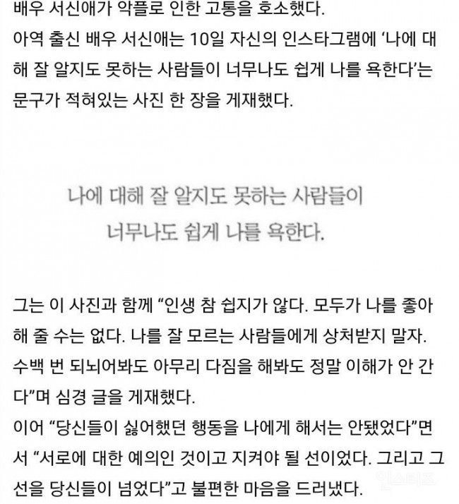 Image: Seo Shin Ae's final post regarding the hateful comments she is getting before deleting her Instagram account