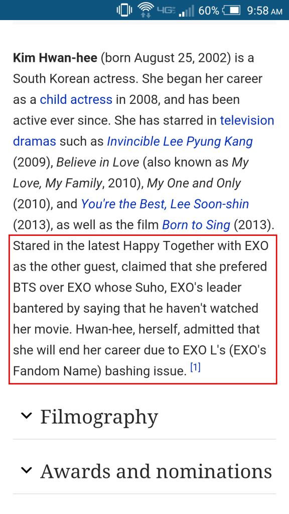 Image: Another fake edit to Kim Hwan Hee's Wikipedia page with a false statement made by the actress.