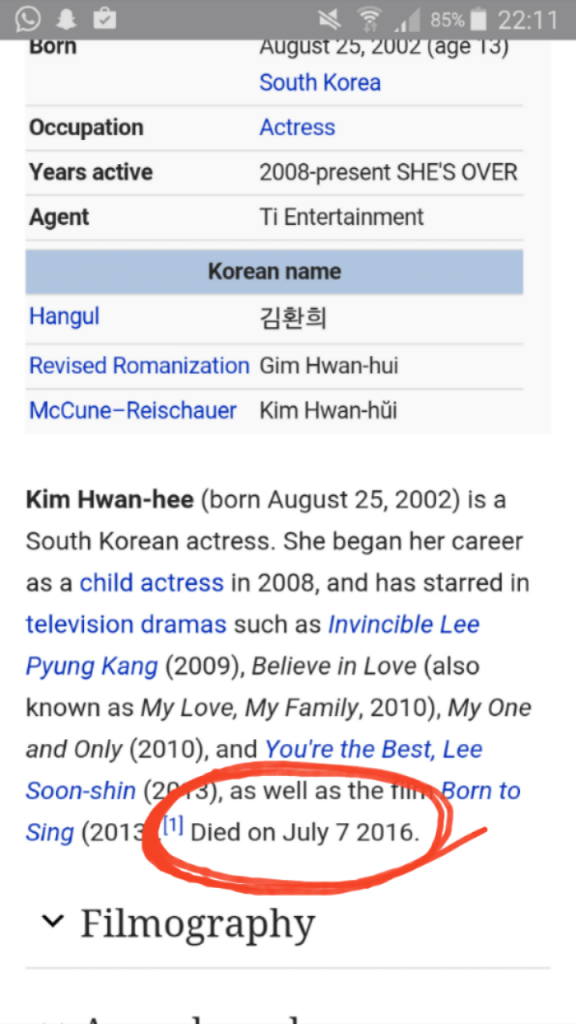 Image: An edit made allegedly by an EXO-L on Kim Hwan Hee's profile that claims she died.