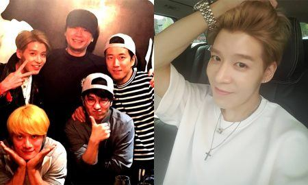 (Left) Four of six Sechs Kies members and YG Entertainment CEO together (Right) Kang Sung Hoon