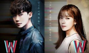 "Image: Lee Jong Suk and Han Hyo Joo character poster for MBC drama ""W"" / MBC"