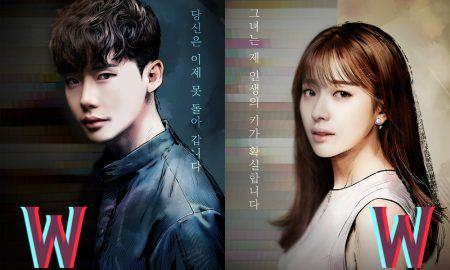 "Image: Lee Jong Suk and Han Hyo Joo character poster for MBC drama ""W"" / MBC"