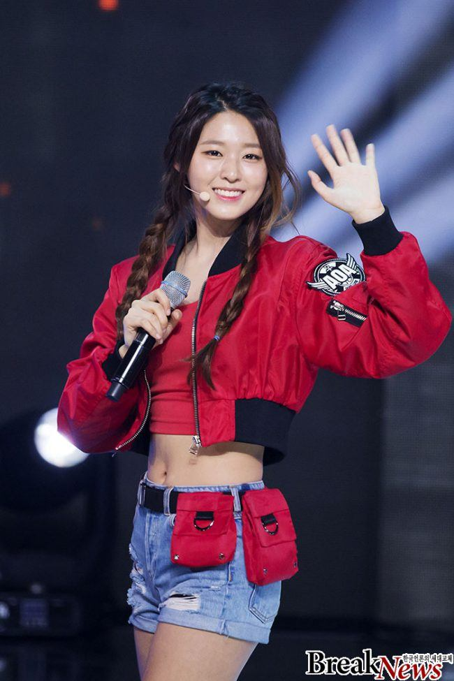 "Image: Seolhyun from AOA wearing a red bomber jacket during her ""Good Luck"" promotions!"