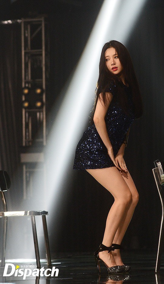 Girl's Day Yura spotted in a midnight blue, sparkly mini-dress with long, straight hair at Girl's Day's CF music video filming. / Dispatch