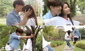 """Image: Eric Nam and Solar enjoying a date out in the park for """"We Got Married"""" / MBC"""