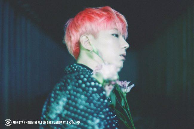 "MONSTA X's Kihyun with pink hair for ""The Clan Pt2: Guilty"""
