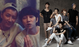 """[Left] Han Geng and Heechul together in 2014 [Right] Super Junior """"W"""" Photoshoot / Naver, W"""
