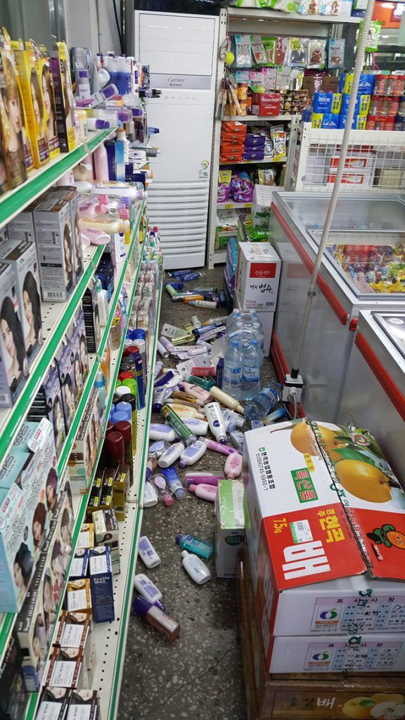 Image: Mess in a store in Gyeongju due to the earthquake / Taken by Korea Times